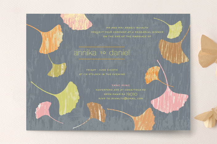 """""""Fans of Happiness"""" - Whimsical & Funny Rehearsal Dinner Invitations in Slate by Carol Fazio."""
