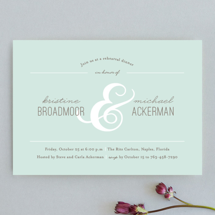 """""""Centerpiece"""" - Formal Rehearsal Dinner Invitations in Pool by Kimberly FitzSimons."""