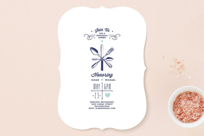 """""""Engraving"""" - Vintage Rehearsal Dinner Invitations in Navy by Diana Steinsnyder."""
