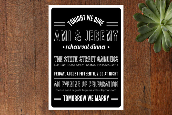 """""""Tonight We Dine"""" - Modern, Bold typographic Rehearsal Dinner Invitations in Ink by Paperful Press."""