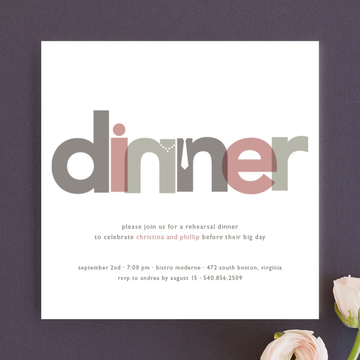 """""""Dinner Party"""" - Simple Rehearsal Dinner Invitations in Rose by Jody Wody."""