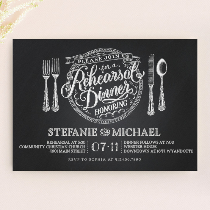 """Chalkboard Place Setting"" - Formal Rehearsal Dinner Invitations in Chalkboard by Laura Bolter Design."