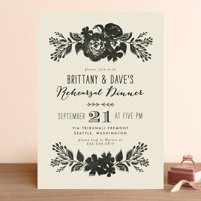 """Dramatic Florals"" - Floral & Botanical, Elegant Rehearsal Dinner Invitations in Ink by Alethea and Ruth."