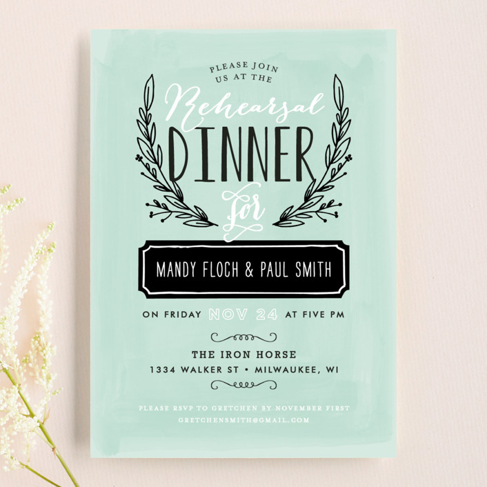 """""""Rehearsal Wreath"""" - Floral & Botanical, Rustic Rehearsal Dinner Invitations in Mint by Alethea and Ruth."""