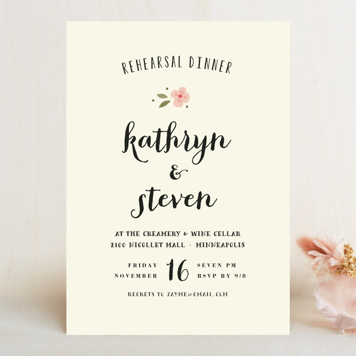"""Beginning"" - Simple, Floral & Botanical Rehearsal Dinner Invitations in Blush by Susan Brown."