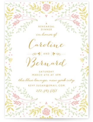 Pastel Dinner Time Rehearsal Dinner Invitations