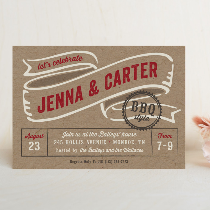 """BBQ Style"" - Rustic, Whimsical & Funny Rehearsal Dinner Invitations in Crimson by Laura Hankins."