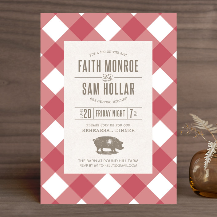 """""""Gingham Union"""" - Whimsical & Funny, Rustic Rehearsal Dinner Invitations in Berry by Penelope Poppy."""