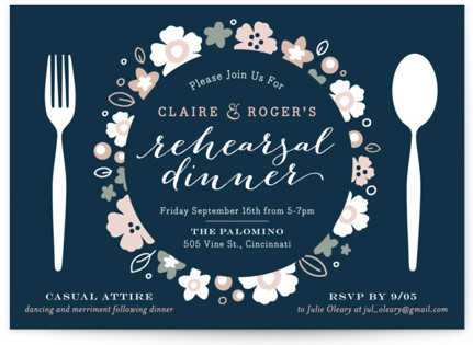 Pretty Plate Rehearsal Dinner Invitations