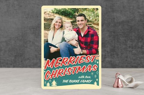 Retro Merriest Christmas Christmas Photo Cards