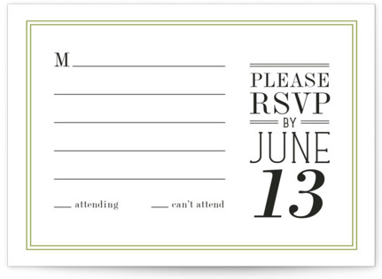 Wed in Type RSVP Postcards