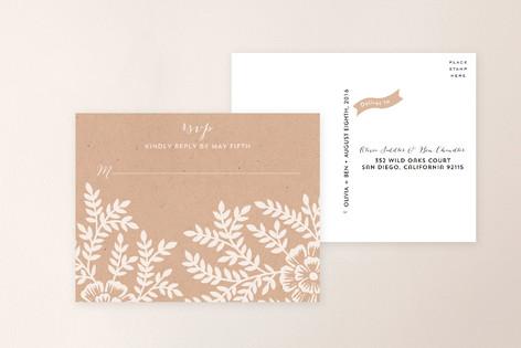 Leaves and Kraft RSVP Postcards