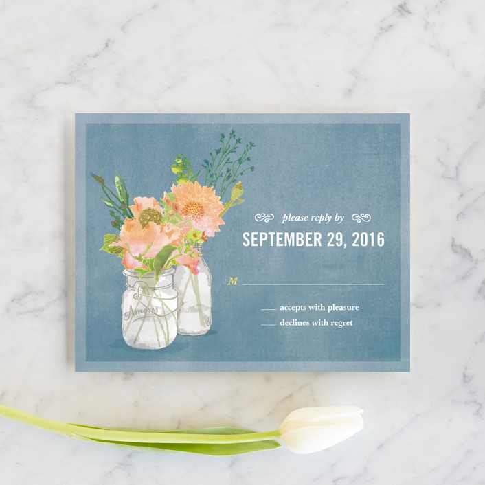 """Bouquet D'Amour"" - Floral & Botanical, Rustic Rsvp Cards in Pacific Jade by Beth Ann."