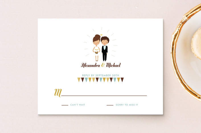 """Cake Toppers"" - Whimsical & Funny Rsvp Cards in Canary by Zory Mory."