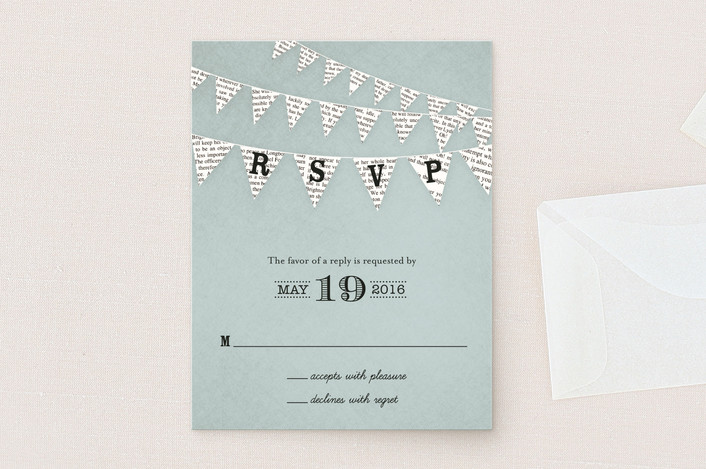 """""""Love Story"""" - Vintage, Rustic Rsvp Cards in Robin's Egg by cadence paige design."""