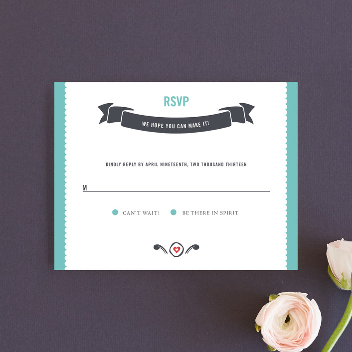 """""""German Stein Toast"""" - Whimsical & Funny, Destination Rsvp Cards in Turquoise by Casey Fritz."""