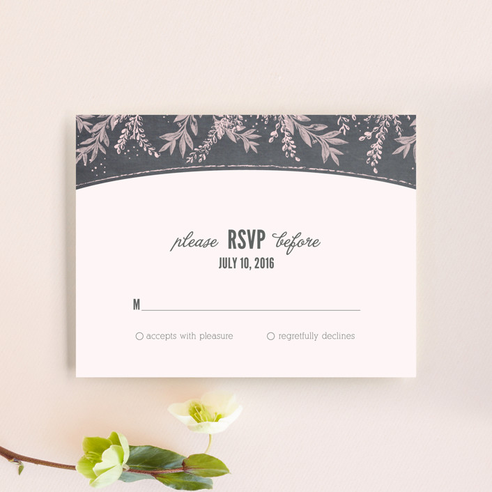 """Woodland Romance"" - Rustic Rsvp Cards in Blush by cadence paige design."