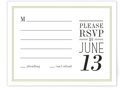 Wed in Type RSVP Cards