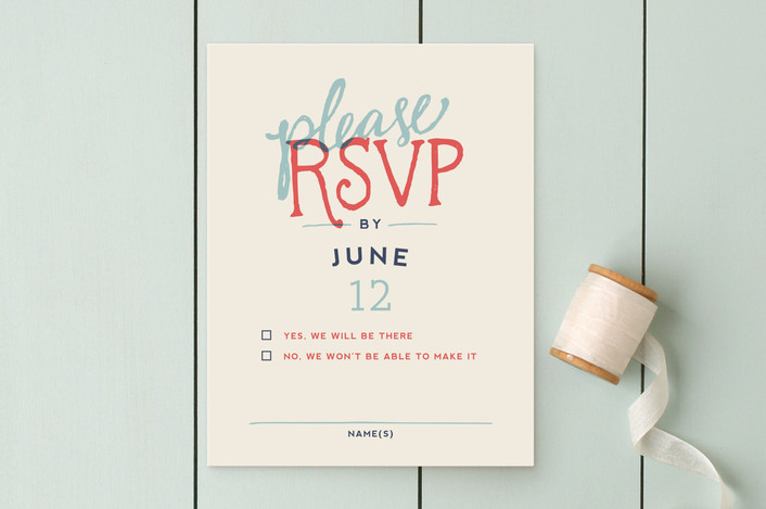 """""""Celebration of Love"""" - Vintage, Bold typographic Rsvp Cards in Coral by Miranda Lyn."""