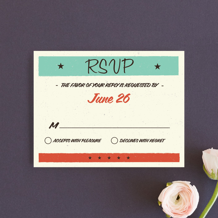 """""""MidCentury Poster Board"""" - Vintage, Whimsical & Funny Rsvp Cards in Tangerine by Coco and Ellie Design."""