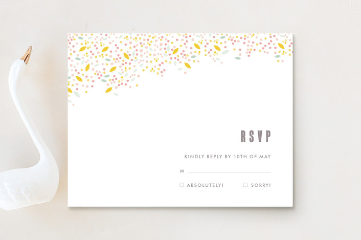 """Modern Dotted Blooms"" - Floral & Botanical, Simple Rsvp Cards in Cinerescent by Phrosne Ras."