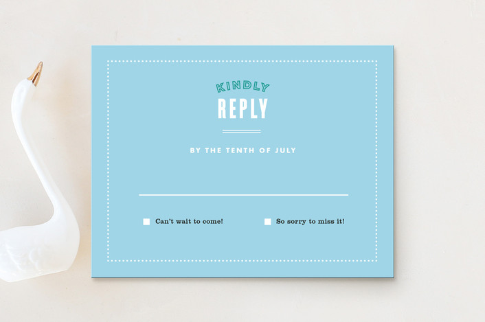 """Before & After"" - Modern, Beach Rsvp Cards in Ocean Blue by Jennifer Wick."