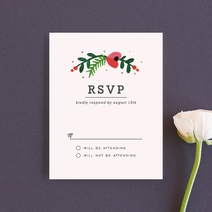 """Simple Flora"" - Floral & Botanical Rsvp Cards in Powder by Kristen Smith."