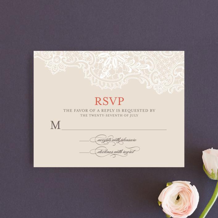 """White Lace"" - Vintage, Elegant Rsvp Cards in Coral Rose by Lauren Chism."