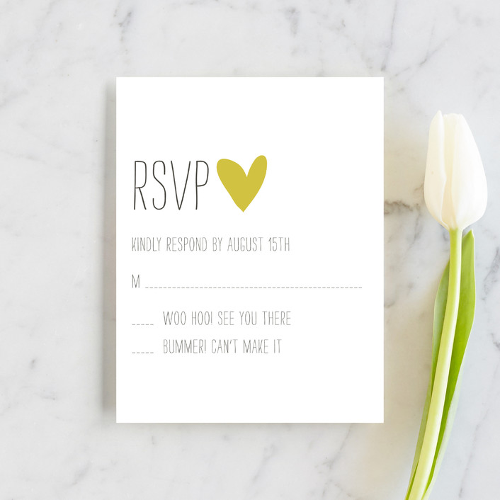 """""""Passing Notes"""" - Whimsical & Funny, Simple Rsvp Cards in Mustard Seed by annie clark."""