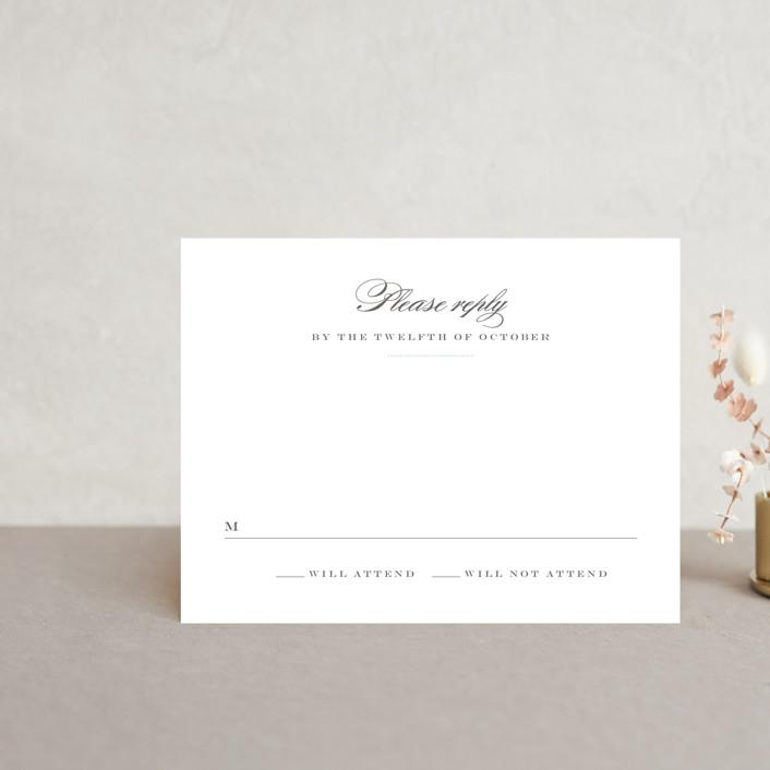 """Charming Go Lightly"" - Monogrammed, Elegant Rsvp Cards in Sky Blue by danielleb."