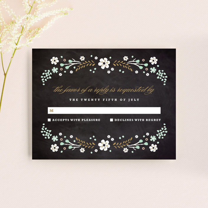"""""""Chalkboard Floral"""" - Floral & Botanical, Rustic Rsvp Cards in Peony by Kristie Kern."""