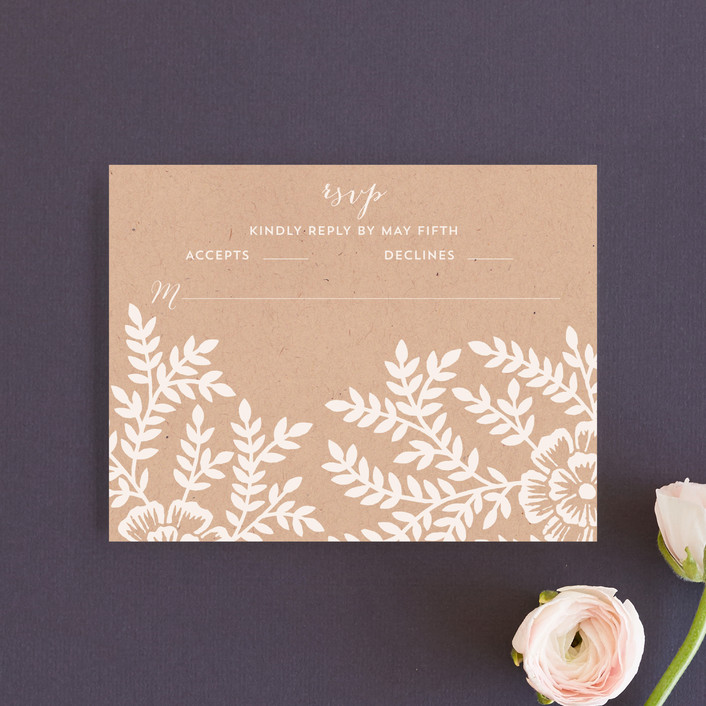 """Leaves and Kraft"" - Rustic, Floral & Botanical Rsvp Cards in Kraft by Katharine Watson."