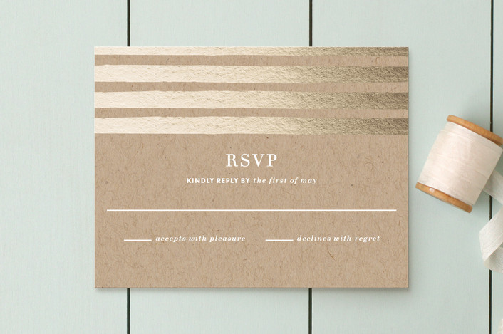 """""""Band of Gold"""" - Modern Rsvp Cards in Kraft by annie clark."""