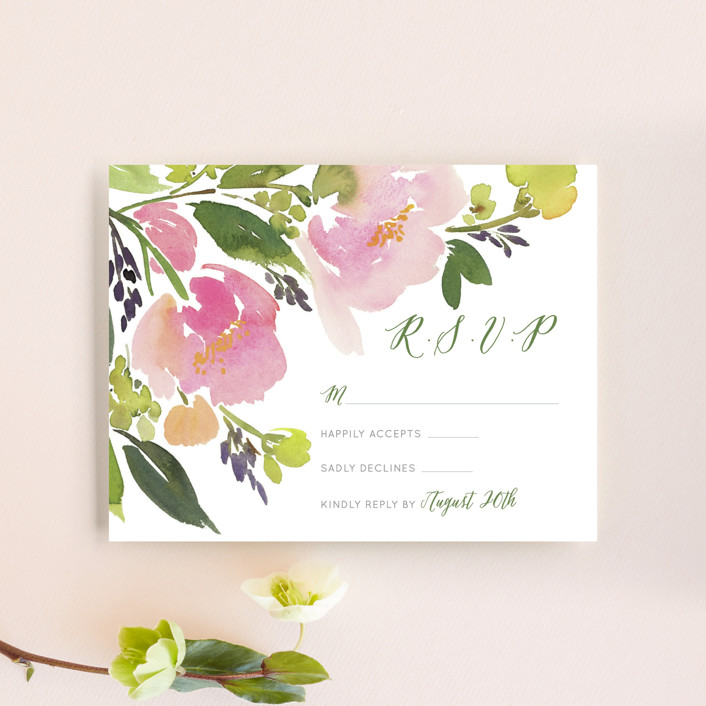 """""""Watercolor Floral"""" - Floral & Botanical Rsvp Cards in Olive by Yao Cheng."""