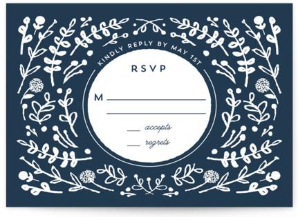 Floral Frame Square RSVP Cards