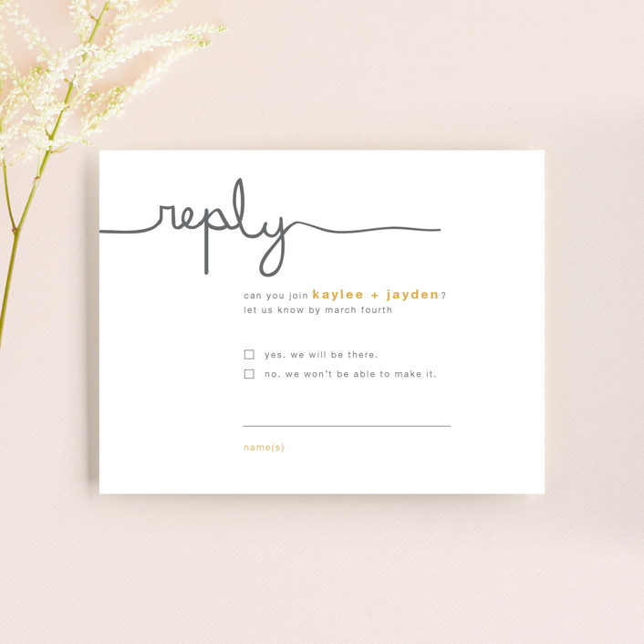 """""""The Happy Couple"""" - Modern, Simple Rsvp Cards in Tangerine by R studio."""