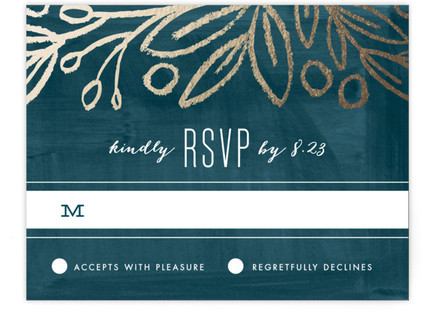 Midnight Foliage Foil-Pressed RSVP Cards