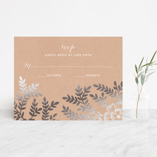 """Leaves and Kraft"" - Rustic, Floral & Botanical Foil-pressed Rsvp Cards in Warm Kraft by Katharine Watson."