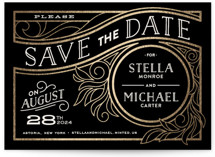 Antique Lines Foil-Pressed Save The Date Cards
