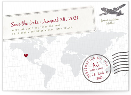 A Faraway Destination Foil-Pressed Save the Date Cards