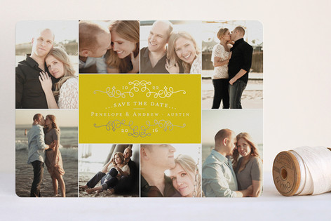 """""""Classic Collage"""" - Elegant Foil-pressed Save The Date Cards in Sunshine by Jody Wody."""