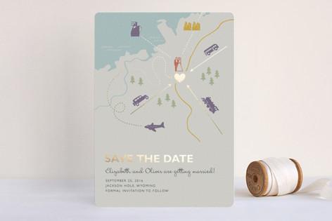"""""""Destination"""" - Destination, Whimsical & Funny Foil-pressed Save The Date Cards in Lilac Haze by leslie hamer."""