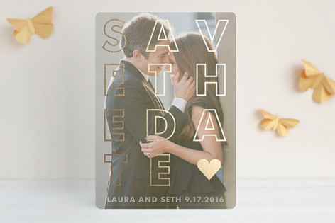 """""""Etched"""" - Bold typographic, Modern Foil-pressed Save The Date Cards in Gold by Jack Knoebber."""