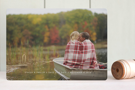 """""""Love Line"""" - Full-Bleed Photo, Simple Foil-pressed Save The Date Cards in Gold by Kelly Ventura."""
