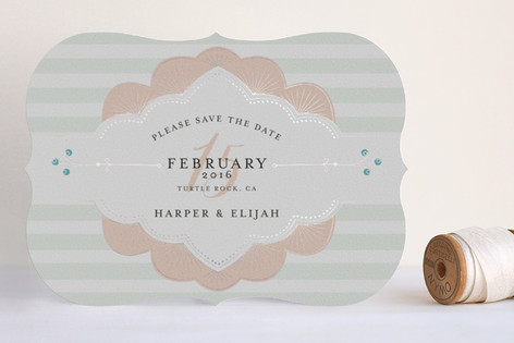 """""""Striped Sweet Nothings"""" - Modern, Classical Foil-pressed Save The Date Cards in Romantic by Frooted Design."""