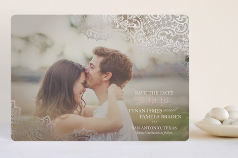 """""""White Lace"""" - Full-Bleed Photo Foil-pressed Save The Date Cards in Blush by Lauren Chism."""