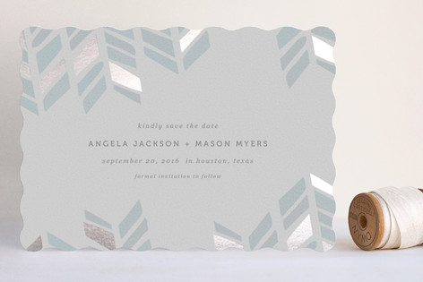 """""""Arrow Head"""" - Modern Foil-pressed Save The Date Cards in Sky by Fig and Cotton."""