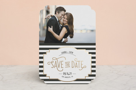"""""""Ascot Chic"""" - Formal, Vintage Foil-pressed Save The Date Cards in Gold by Frooted Design."""