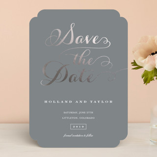 """Just Lovely"" - Bold typographic Foil-pressed Save The Date Cards in Slate by Sara Hicks Malone."