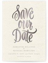 Painted Simplicity Foil-Pressed Save The Date Cards